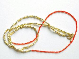 ヴィンテージビーズ&真鍮ネックレス(ブレスレット使い可能)の画像