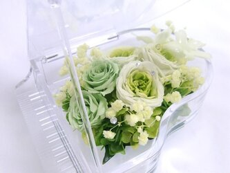 【プリザーブドフラワー/グランドピアノシリーズ】フレッシュグリーンのお花たちの妖精の音色の画像