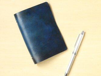 アンティークチックな革のシステム手帳【名入れ刻印/手打ち】 6穴のポケットサイズ ネイビーブルー 海底の色の画像