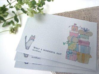 グレー封筒 びっくりネコの画像