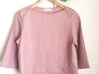 【ご予約商品】リネン シンプルブラウス グレイッシュピンクの画像