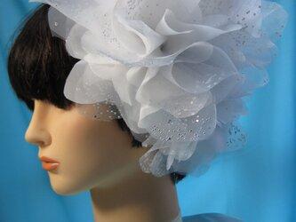 ウェディングヘッドドレス 3ピースきらきらオーガンジー ヘアーコサージュの画像