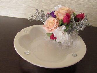 87:お客様オーダー品♪お部屋がぱっと明るく!プリザの華やかアクセトレイの画像