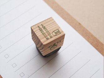 消しゴムはんこ「小さいサイズ☆鉛筆と消しゴム」の画像