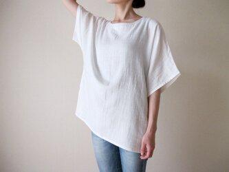 ダブルガーゼ(綿100%)のシャツ(ホワイト)の画像