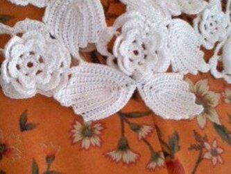 お花とリーフのモチーフ可愛いレース編み つけ衿 高級レース糸使用の画像
