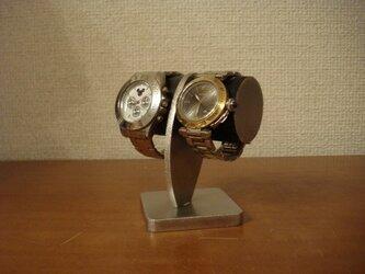 2本掛けブラックどっしり腕時計スタンドの画像