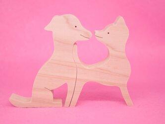 送料無料 木のおもちゃ 動物組み木 仲良しイタリアングレーハウンドの画像