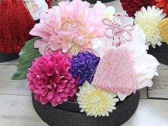 「お正月」ヘッドアクセサリー桃色のダリア着物ゆかたの髪飾りの画像