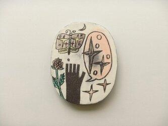 だえん陶絵《月のよる庭で》の画像
