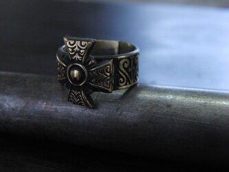 レトロクロス彫模様真鍮ブラスリング 指輪サイズ1号~15号/タイリング,トゥリングにもの画像