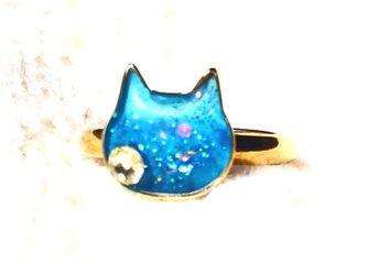 猫型ミニリングフリーサイズマリンブルーの画像