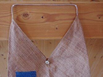 (値下げしました)大きめ柿渋ワンマイルバッグ(あずま袋)ー左肩用・紺白赤ステッチ紐の画像