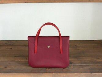 日本製牛革手縫いのハンドバッグ S /  レッド / レッドの画像
