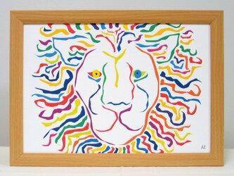 絵画 イラスト アート ライオン 獅子 LION 白 A4-k02の画像