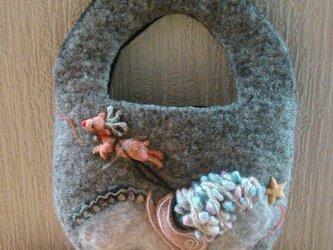 【受注製作】モチーフ付き羊毛フェルトバック(サンプル)の画像