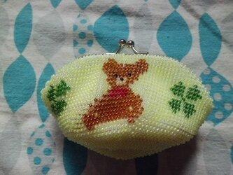 [再出品]ビーズ編みがま口財布 クマ柄 黄色の画像