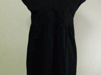 【セール品】前カシュクール重ねフレンチスリーブワンピース M~Lサイズ 黒 綿100%の画像