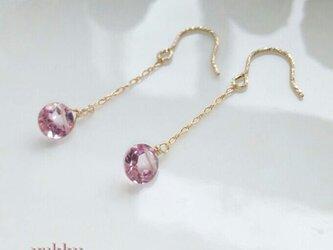 【再販】宝石質ピンクトパーズ♪14Kgfグリッターピアスの画像