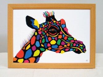 絵画 イラスト アート きりん キリン ジラフ A4-K02の画像