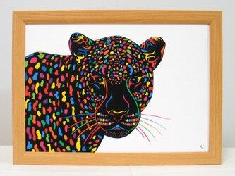 絵画 イラスト アート ヒョウ 豹 ひょう A4-k02の画像