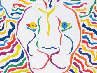 絵画 イラスト アート ライオン 獅子 LION 白 A4-kの画像