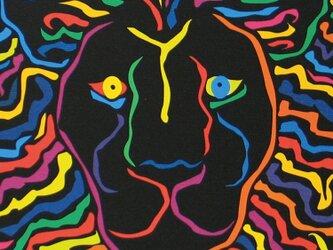 絵画 イラスト アート ライオン 獅子 LION 黒 A4-kの画像