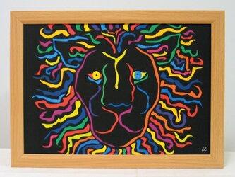 絵画 イラスト アート ライオン 獅子 LION 黒 A4-k02の画像