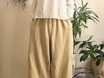 イタリー製リネン生地 バルーン型ワイドパンツの画像