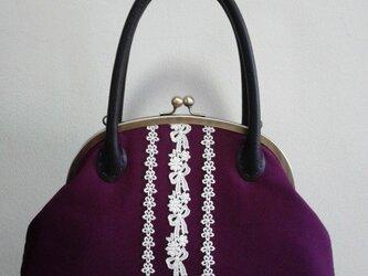 あずき紫和色・名古屋帯・がま口バッグの画像