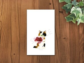 猫 ミケちゃんメッセージカードの画像