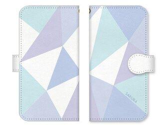手帳型 三角 模様のスマホケース トライアングル ベルト:ホワイトの画像