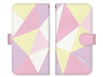 手帳型 三角 模様のスマホケース トライアングル ベルト:パステル系 濃い ピンクの画像