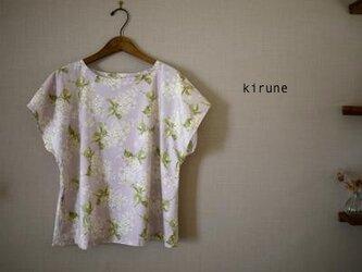 リバティ*Archive Lilac*フレンチスリーブ後ろあきブラウス グレージュ/Mサイズ*の画像