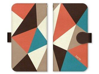 手帳型 三角 模様のスマホケース トライアングル 茶×ターコイズ×オレンジ×ベージュ×クリームの画像