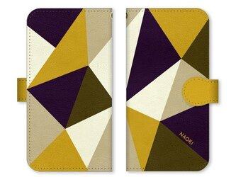 手帳型 三角 模様のスマホケース ディープな紫×マスタード ×カーキ×ベージュ×クリームの画像
