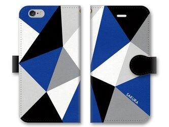 手帳型 三角 模様のスマホケース トライアングル ブラック×グレー×ホワイト×ブルーの画像
