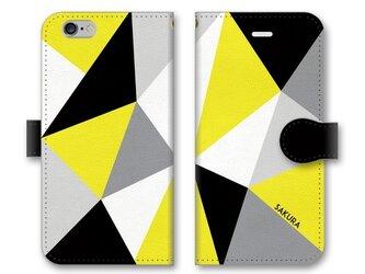 手帳型 三角 模様のスマホケース トライアングル ブラック×グレー×ホワイト×イエローの画像