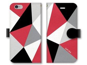 手帳型 三角 模様のスマホケース トライアングル ブラック×グレー×ホワイト×レッドの画像