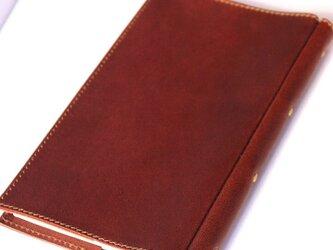しおりポケット付きのレザー新書本カバー。の画像