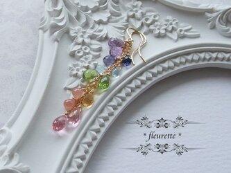虹色天然石のロングピアス*K14GFの画像
