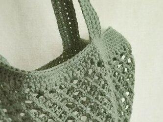 ネット編みのこっとんバック…オリーブ…の画像