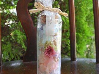 プリザーブドフラワー ミニボトルギフト(L) ブルーホワイトピンクの画像