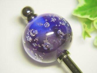 しゅわしゅわとんぼ玉のかんざし 青×紫の画像