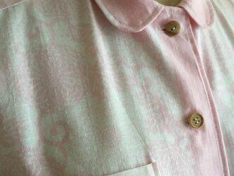 浴衣の丸襟シャツ  淡いピンク  お花の画像