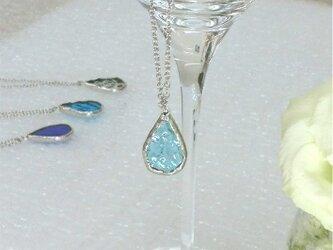 ステンドグラスのネックレス【ひとしずく】ウォーターブルーの画像