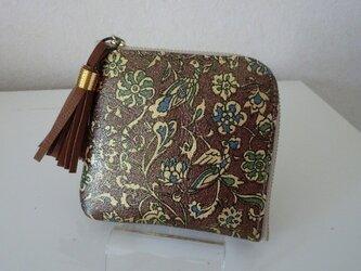 ブラウン 金彩花模様 ウオレット 革の画像