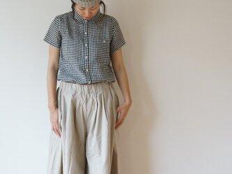 JAPAN Linen gingham check shirt LADY'S BLACKの画像