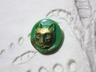 チェコのガラスボタン 金色の猫 GREENの画像