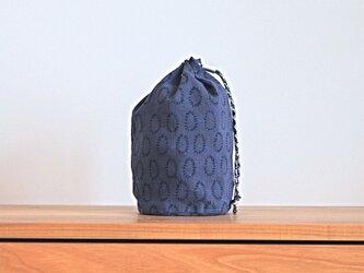 ハーフリネンの丸底巾着(L)/ブルー(0の点滅柄)の画像